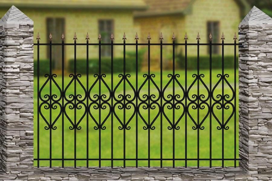 Забор решетка + элемент ковки